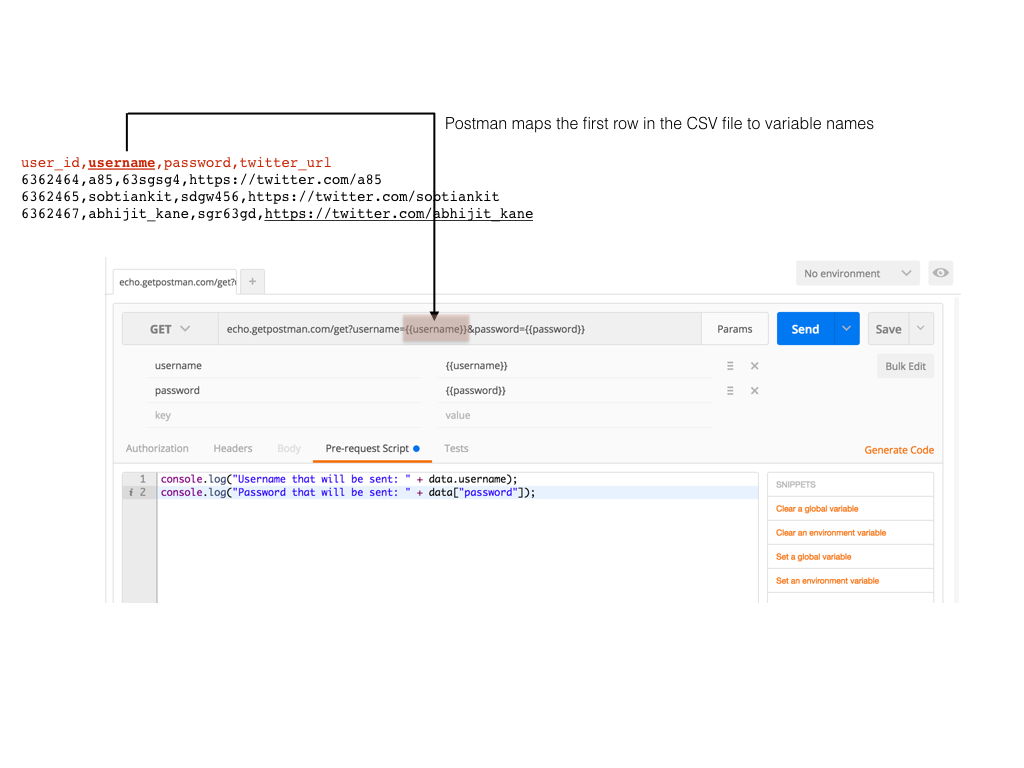 Using CSV and JSON data files in the Postman Collection Runner