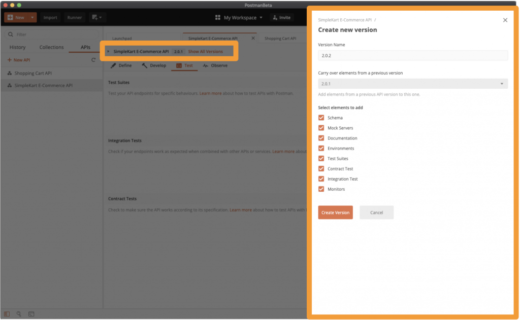 API Development: Version your API and API elements in Postman