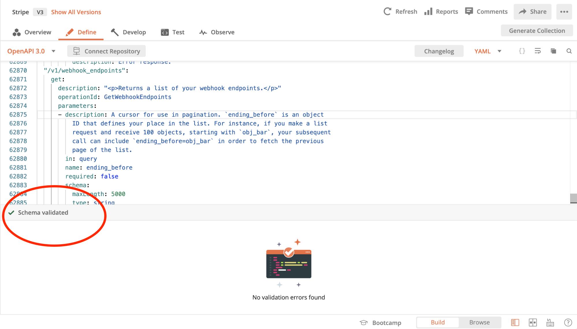 Postman API Builder validates OpenAPI definitions