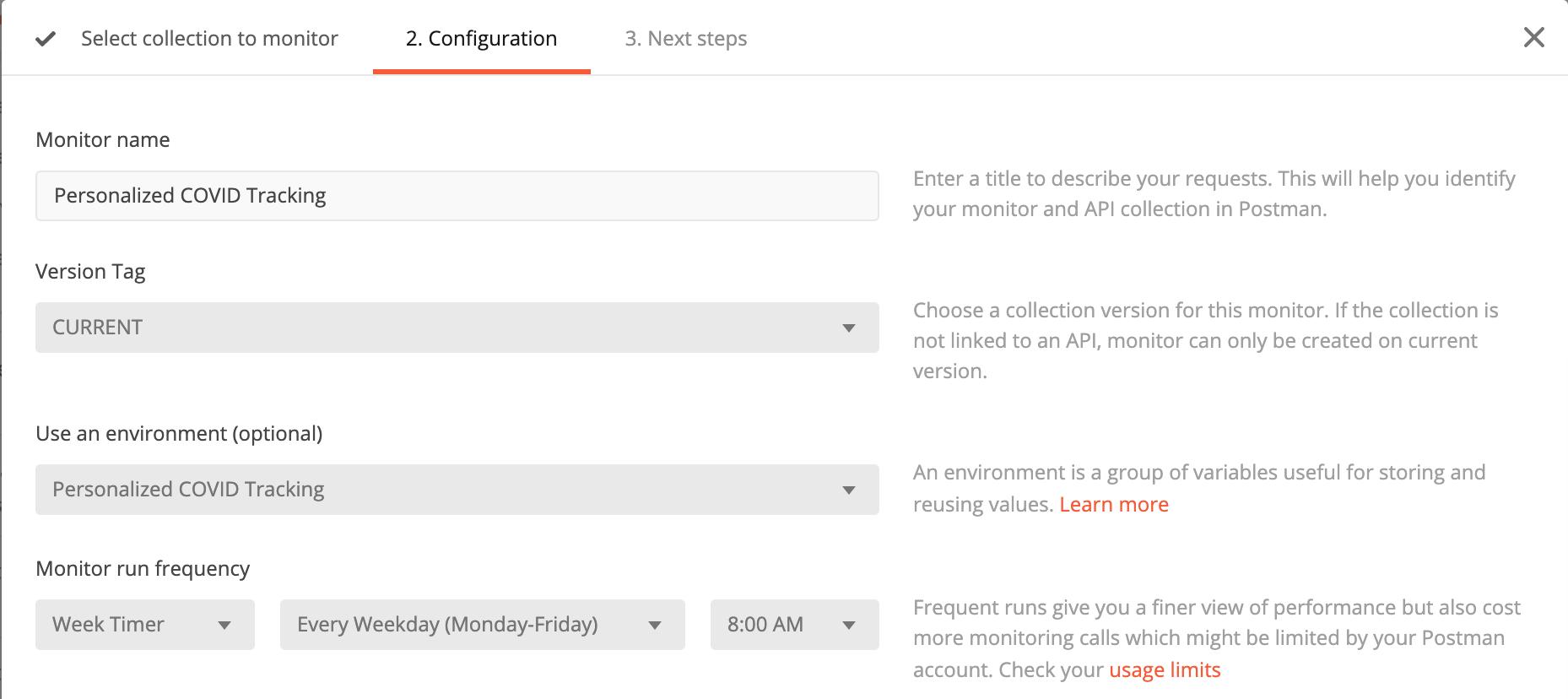 Monitoring configuration pane