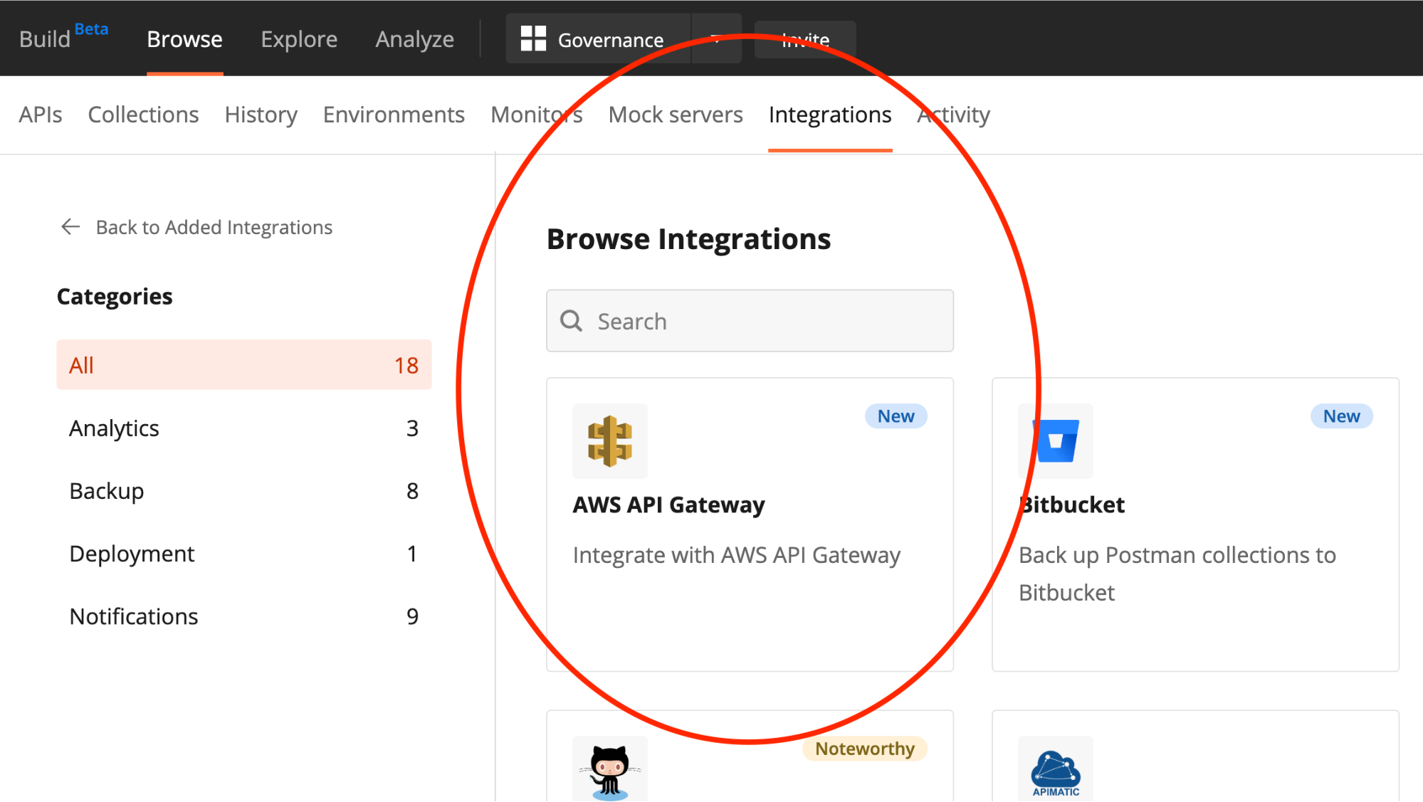 Browsing API integrations in workspace
