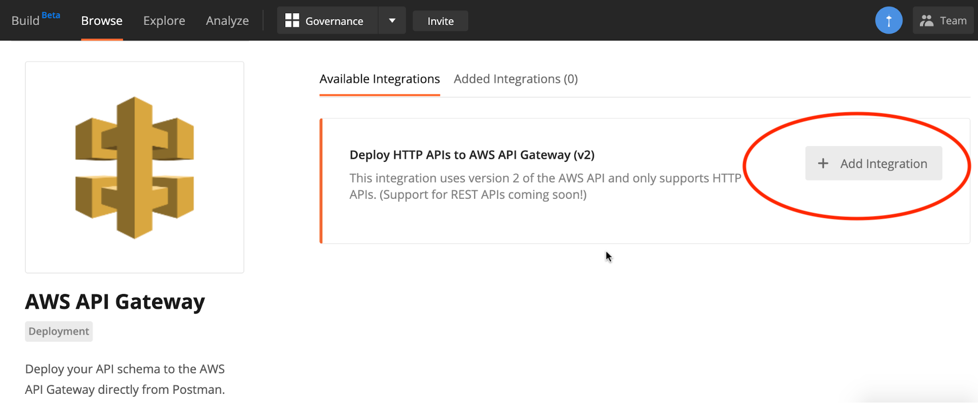 Available integrations for AWS API Gateway