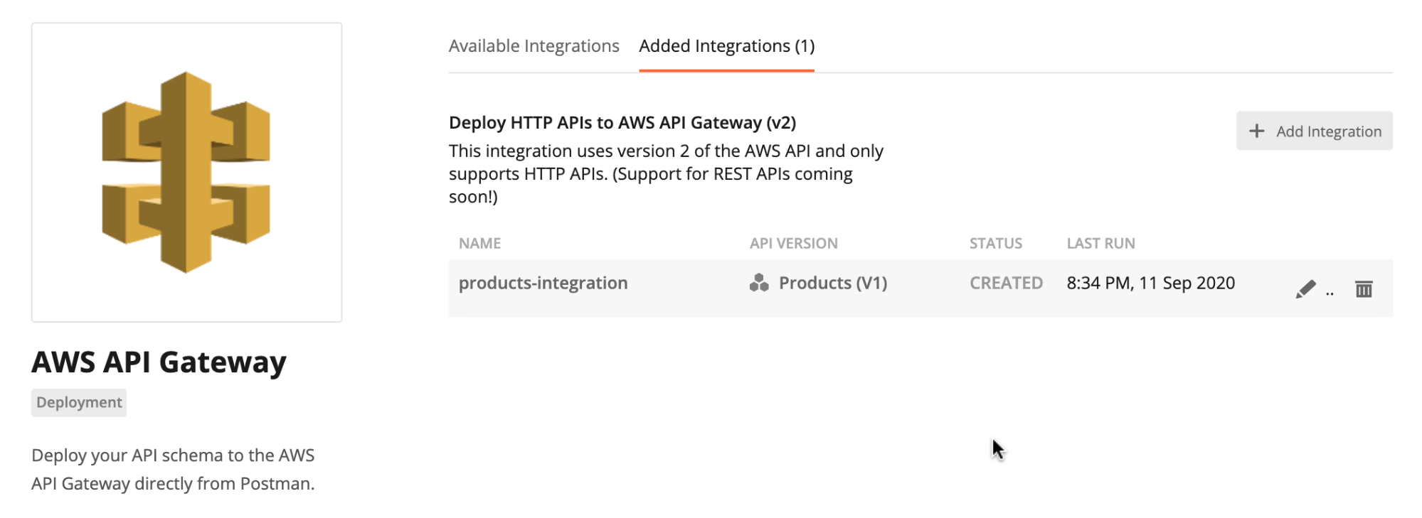 Added integrations within the AWS API Gateway