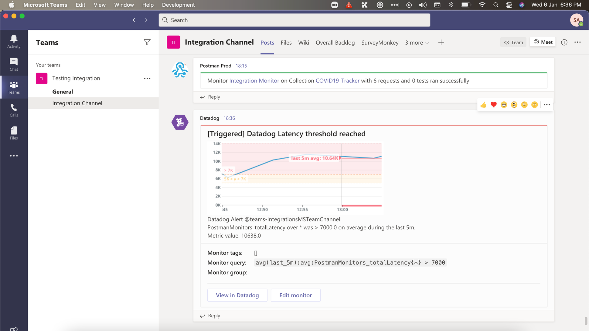 The alert as seen on Microsoft Teams